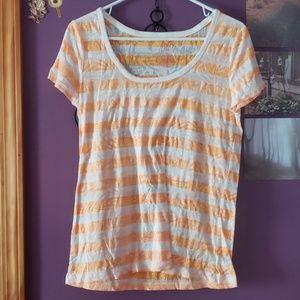 Orange and white striped t-shirt